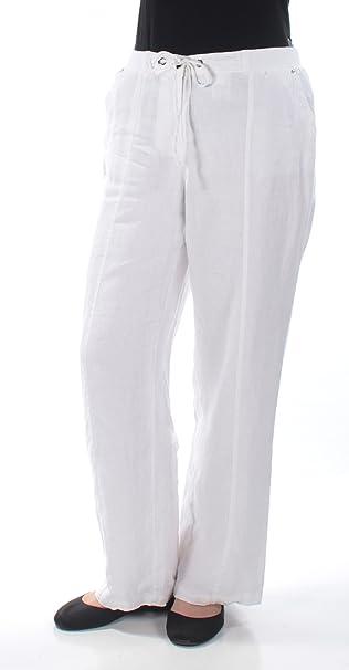 48785895b8163 Amazon.com  JM Collection Women s Drawstring-Waist Linen Pants ...