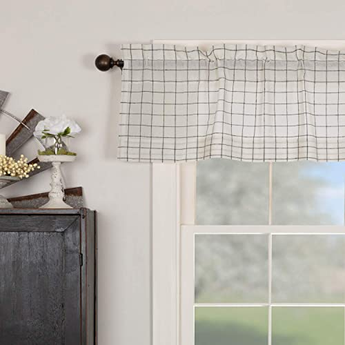 Piper Classics Springhouse Semi Sheer Valance Curtain, Black Antique White, 60 W x 16 L, Primitive, Vintage, Farmhouse, Lightweight, Kitchen or Bath, Windowpane Check