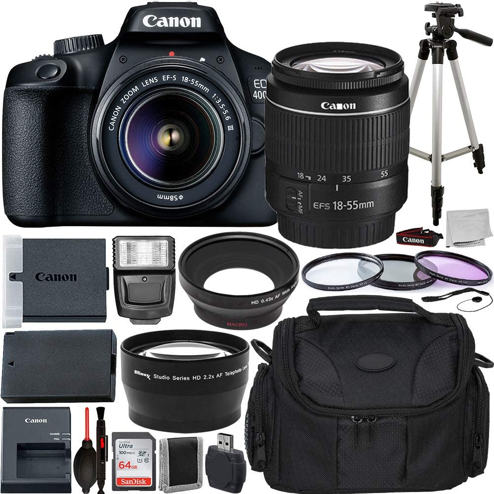 Canon EOS 4000D DSLR Camera with EF-S 18-55mm f/3.5-5.6 III Lens Advanced Bundle - Includes: Extended Life LPE10 Replacement Battery, 50