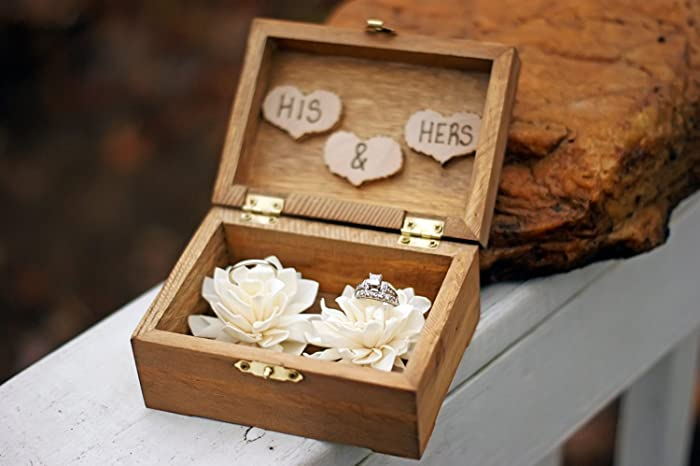 rustic wedding sola flower ring box rustic wedding decor ring bearer pillow wedding - Wedding Ring Boxes