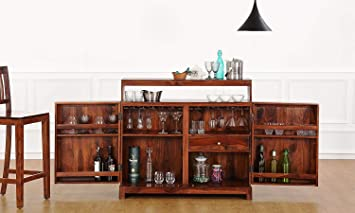 Jiya Creation Bar Cabinet | Wine Rack with Glass Storage | Bar Unit for Home Decor (Sheesham Wood) (Teak Shade)