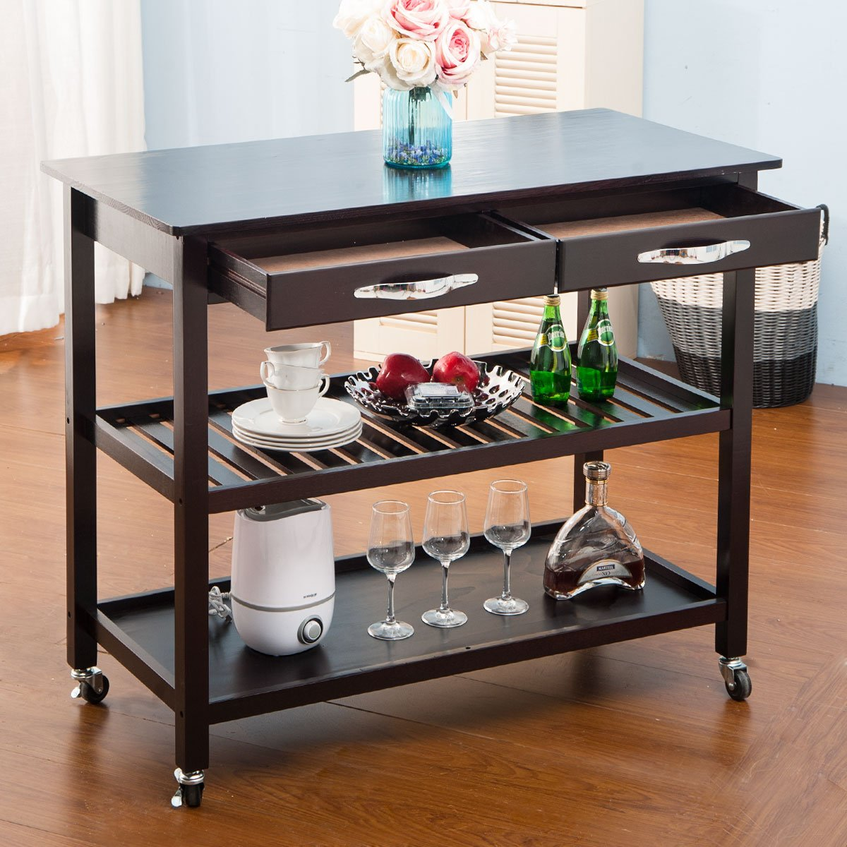 LZ LEISURE ZONE Rolling Kitchen Island Serving Cart Wood Trolley w Countertop, 2 Drawers, 2 Shelves and Lockable Wheels Dark Brown