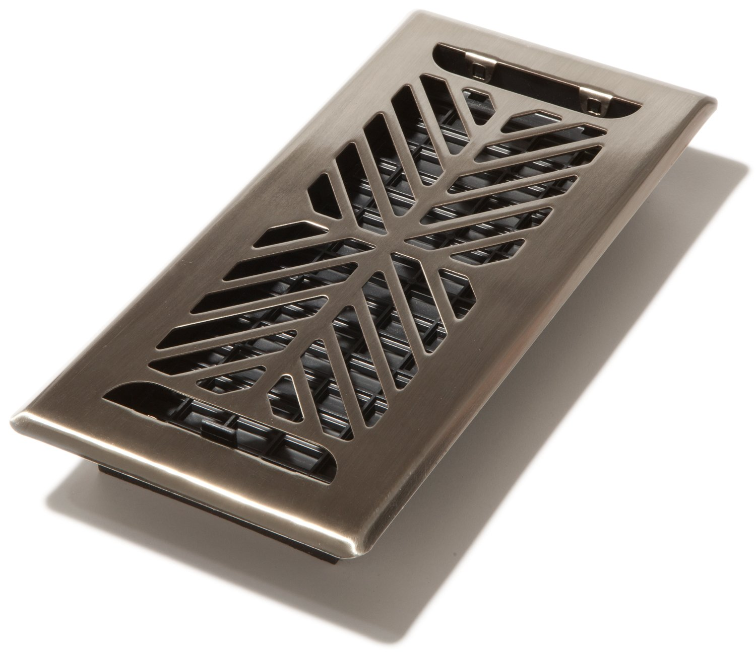 Decor Grates AUK410-NKL Chevron 1.33 Plated Nickel Floor Register, 4 by 10 4 by 10 Decor Grates - CA