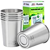 Ruisita 6 Pack 8 Ounce Stainless Steel Cups Shatterproof Pint Drinking Cups Metal Drinking Glasses for Kids and Adults (Silver)