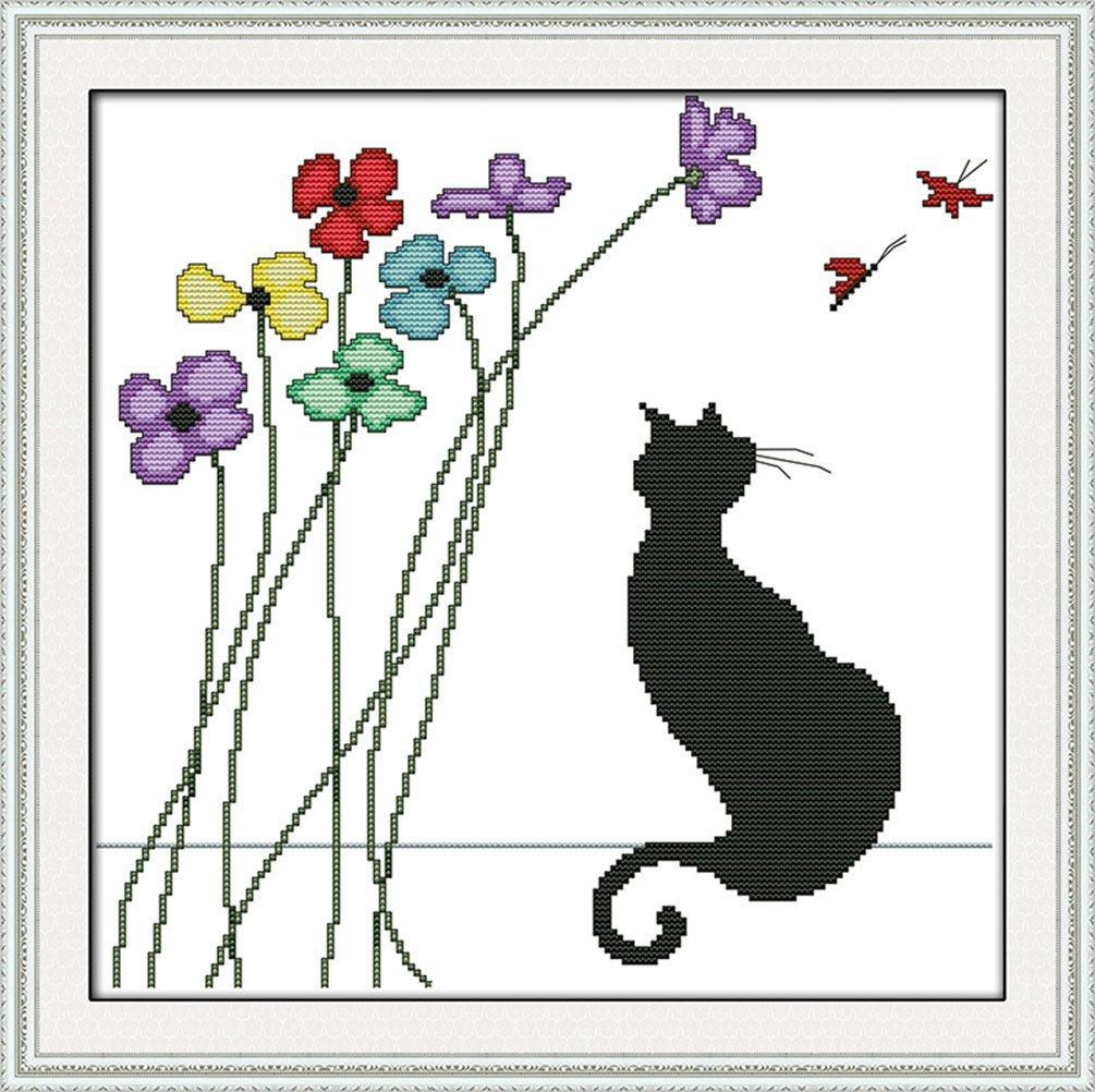 14K Yeesam Art kit ricamo a punto croce–nero gatto e fiori fai da te ricamo set tela bianca–Kit per punto croce croce 36x 36cm cucito a mano regali di Natale Kreuzstich