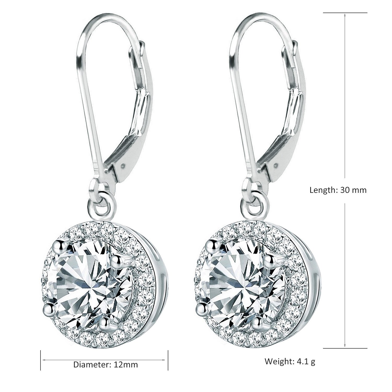BaubleStar Round Halo Dangle Lever back Drop Earrings for Women Girls Sterling Silver with Cubic Zirconia B0103