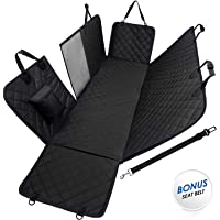 """Pet Seat Cover Dog Car Hammock with Zippered Mesh Window & Storage Pocket Waterproof Nonslip Bench Protector for Cars Trucks SUVs Backseat Cover - (Black, 54"""" x 58"""")"""