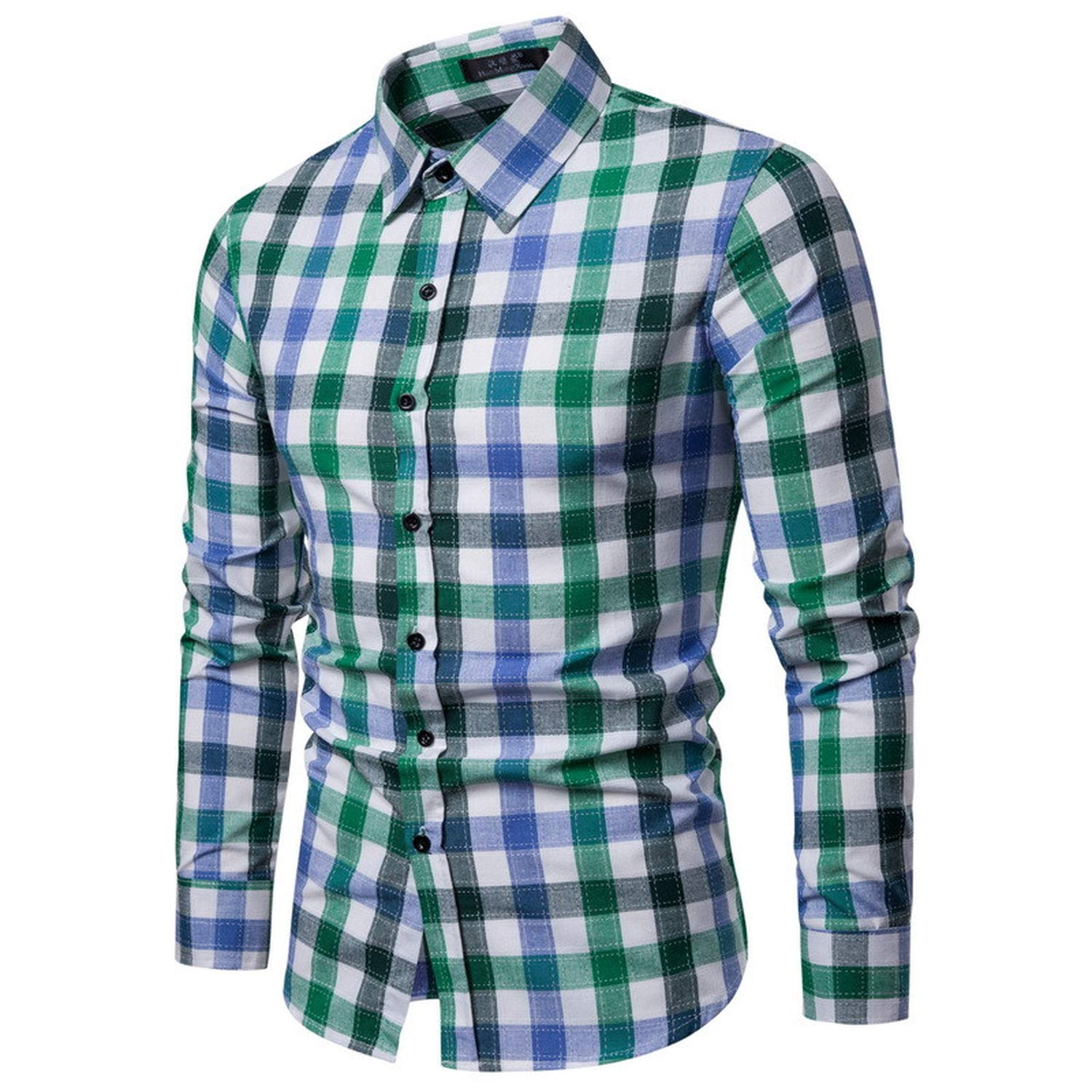 Elegant Business Blouse Mens Casual Coloured Checked Print Shirt Long Sleeves Casual Trend Blouse Males,Red,L,China
