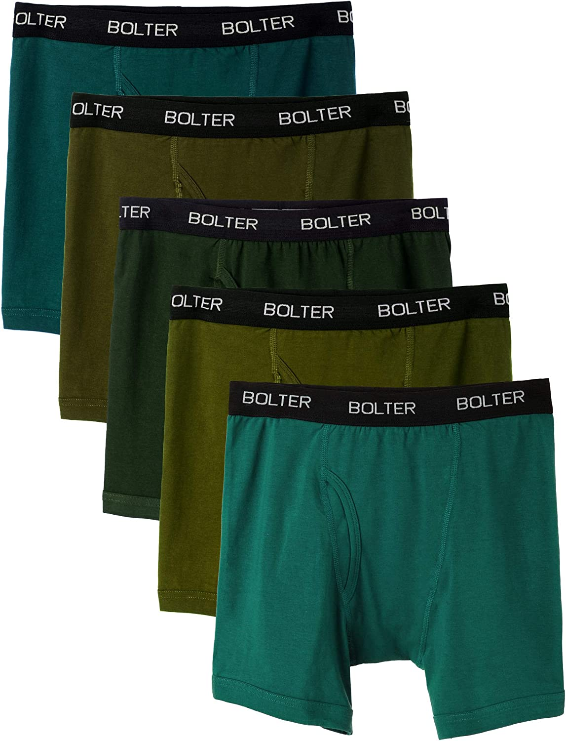 Bolter Men's Cotton Spandex All Day Boxer Briefs 5-Pack