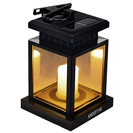 Patio Umbrella Lights   ANDEFINE Outdoor LED Solar Lanterns Waterproof  Candle Lamps Decorated In Garden Porch