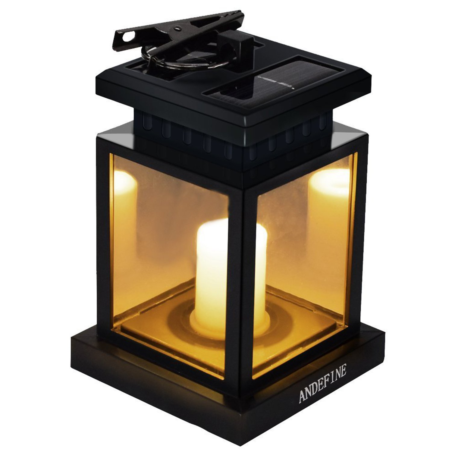 Patio Umbrella Lights - ANDEFINE Outdoor LED Solar Lanterns Waterproof Candle Lamps Decorated in Garden Porch Lawn (Yellow Light, Pack of 1)