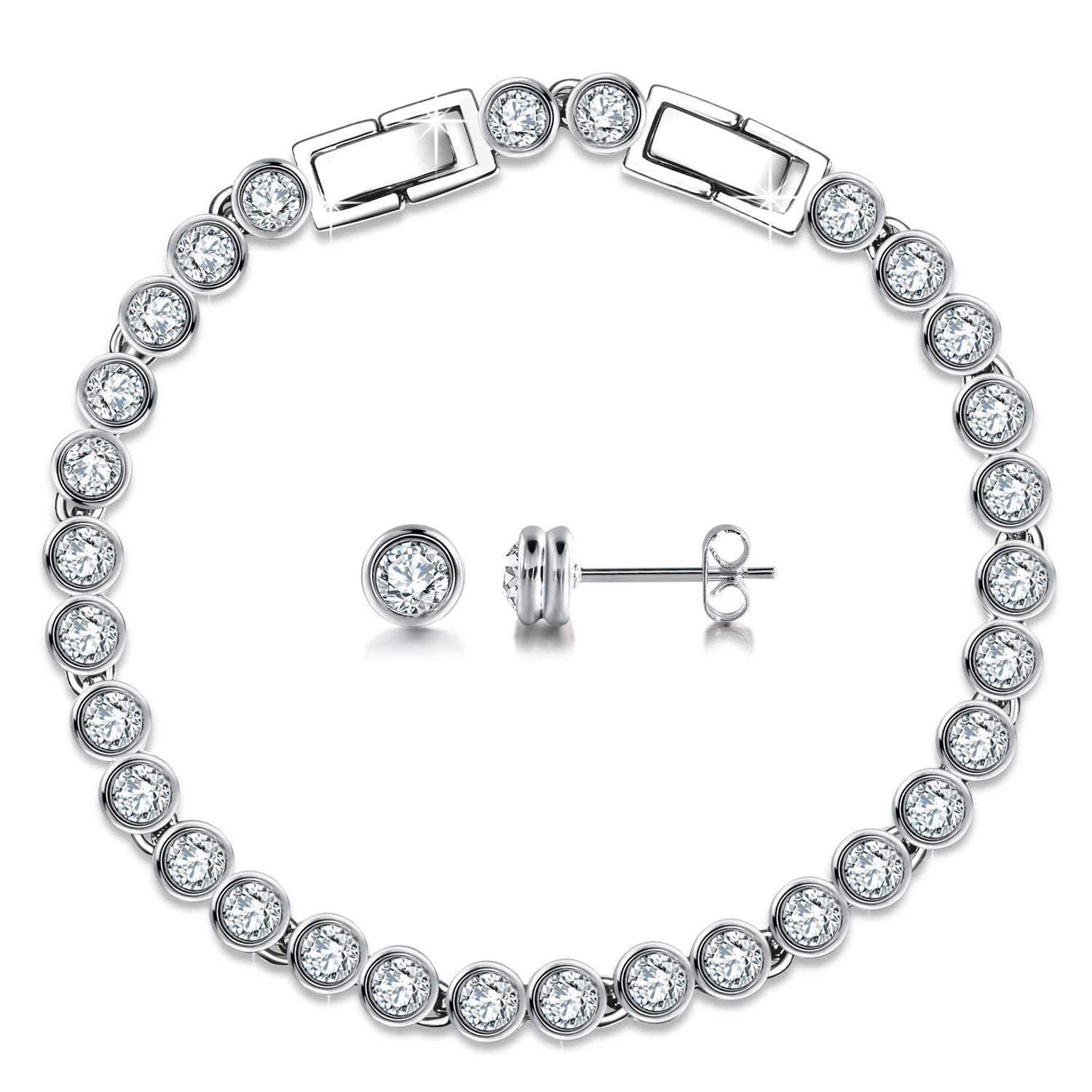GEORGE · SMITH Classic 925 Sterling Silver Tennis Bracelets Stud Earrings Sets with Swarovski Crystals Jewelry Set Gifts for Women Hypoallergenic