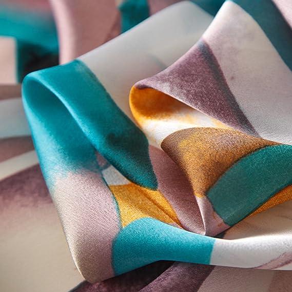 996eec8d23e8 DAMILY Femmes Classique Géométrique Foulard en Soie-Felling Léger Châle  Wrap Femelle Mode Accessoire (Cyan)  Amazon.fr  Vêtements et accessoires