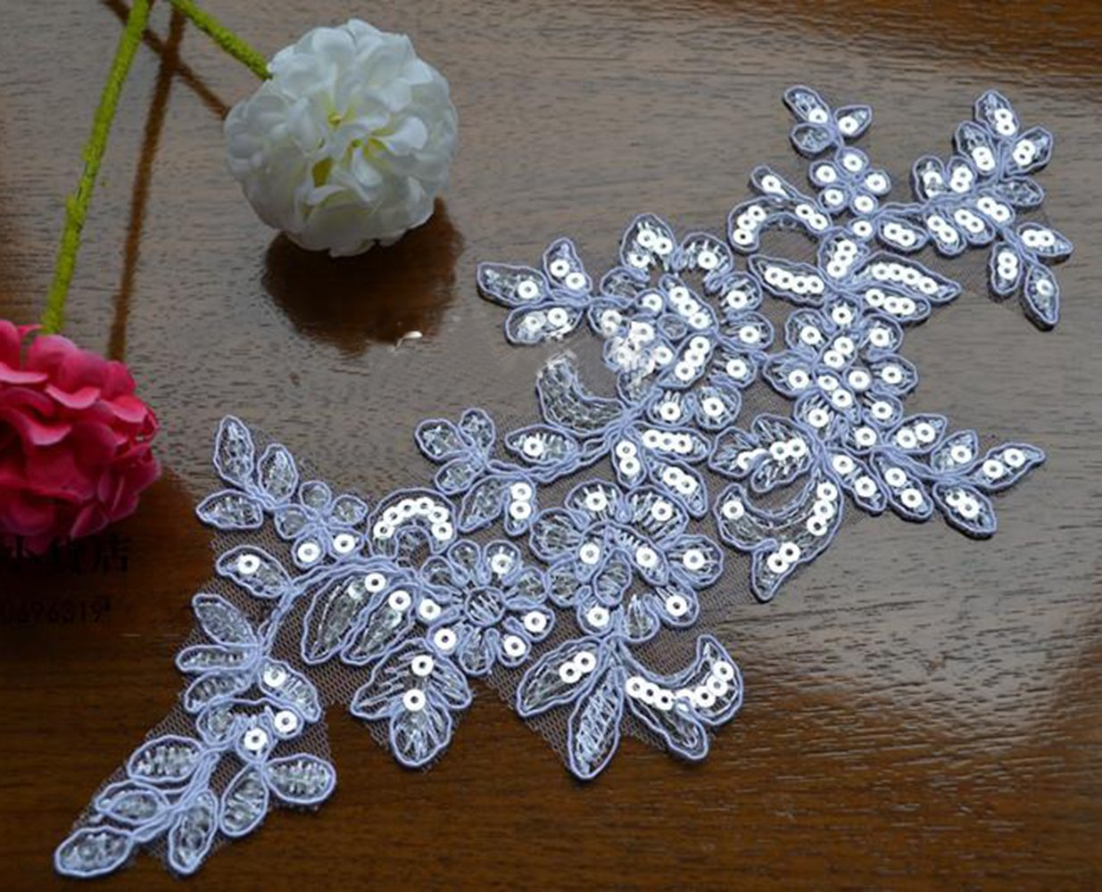 1 Pair Sequin Embroidered Lace Appliques Embroidery Patches For Dress Sewing Shoes Decor Supply L 10-1//2 W 4 Wide black