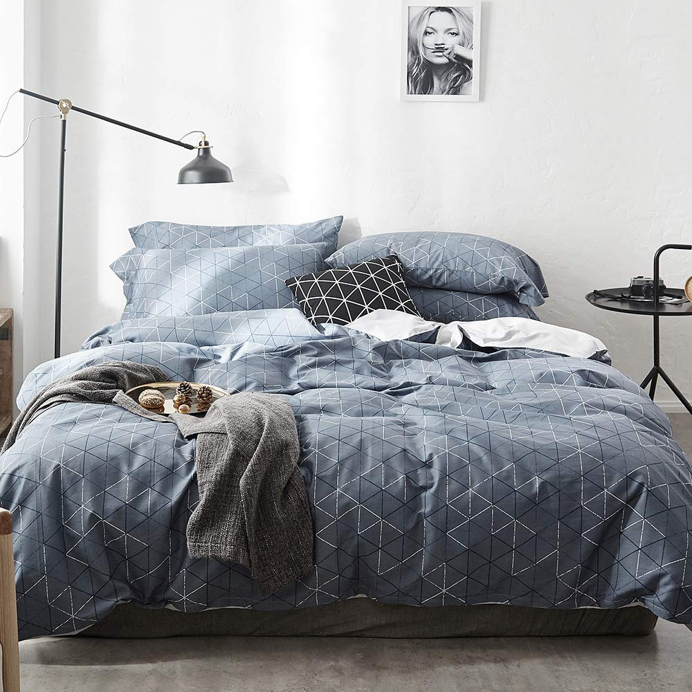 Modern Soft Solid Blue Duvet Cover Set Queen 3 Piece Luxury Bedding Set Full Lightweight Double Yarn Cotton Duvet Quilt Cover Set with Zipper Closure and Corner Ties Queen Bedding Collection LifeTB TBUS081602Q5
