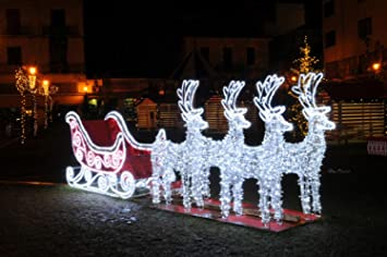 9 commercial size reindeer and sleigh lighted christmas outdoor decoration