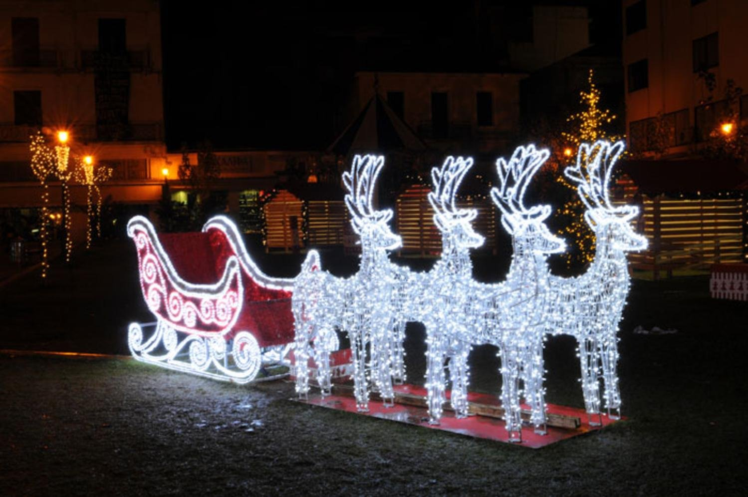 9' Commercial Size Reindeer and Sleigh Lighted Christmas Yard Art Decoration