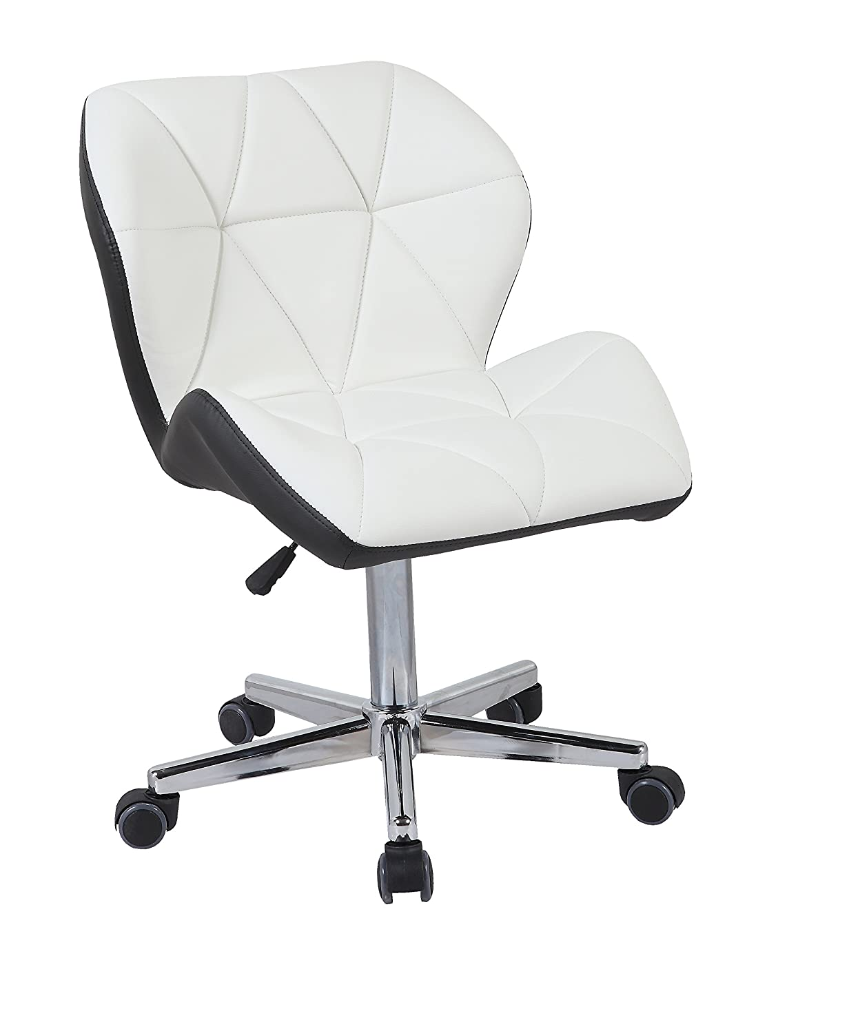 HNNHOME Modern Uranus Padded Swivel Leather Computer Desk Office Chair Mixed Color (WHITE/BROWN)