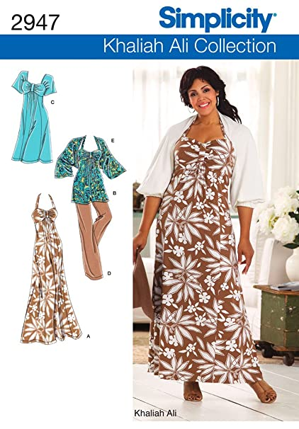 Amazon.com: Simplicity Sewing Pattern 2947 Plus Size Dresses, FF ...