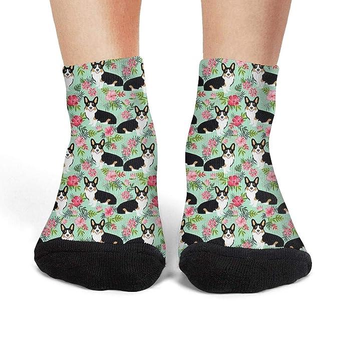f6a2fa0262fbb Corgi Hawaiian floral Corgi Dog Women Low Cut Socks Breathable Sport ...