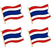 ALEY Thailand Thai Kingdom of Thailand Flag Lapel Pin Decorations (4 Pack)