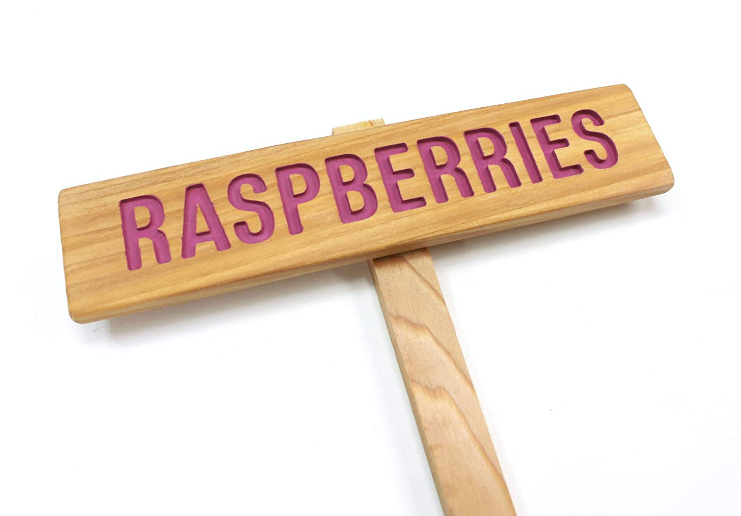 RASPBERRIES Garden Sign, Painted & Oil Sealed Cedar Wood: Hand Routed, Plant Marker, Berry Plant Marker, Custom Garden Sign, Garden Marker