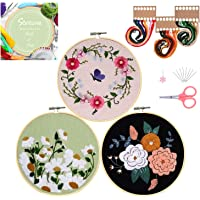 Santune 3 Sets Embroidery Starter Kit with Pattern and Instructions, Cross Stitch Set, Stamped Embroidery Kits with 3…
