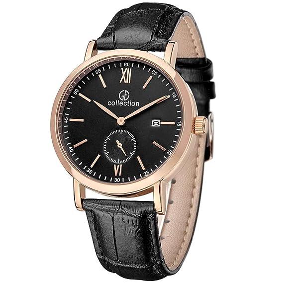 GE Collection Running para Hombre Relojes Vintage – Funda Negro Correa de piel segundo dial de