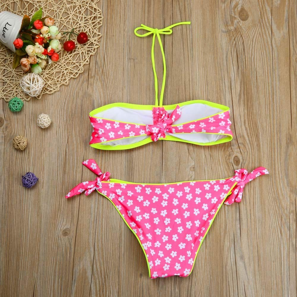 PK CUSHY CHAMGEND Drop Hip Toddler y Kid Girl olid wimwear Flower Bathing uit et Clothe ap12m30