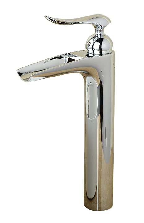 Aquafaucet Chrome Waterfall Open Channel Bathroom Vessel Faucet ...