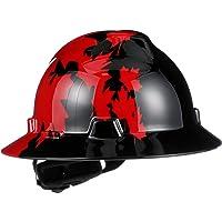 MSA 475366 - Casco duro con visera completa con protector en V, ranurado, Black w/Red Maple Leaf, Estándar