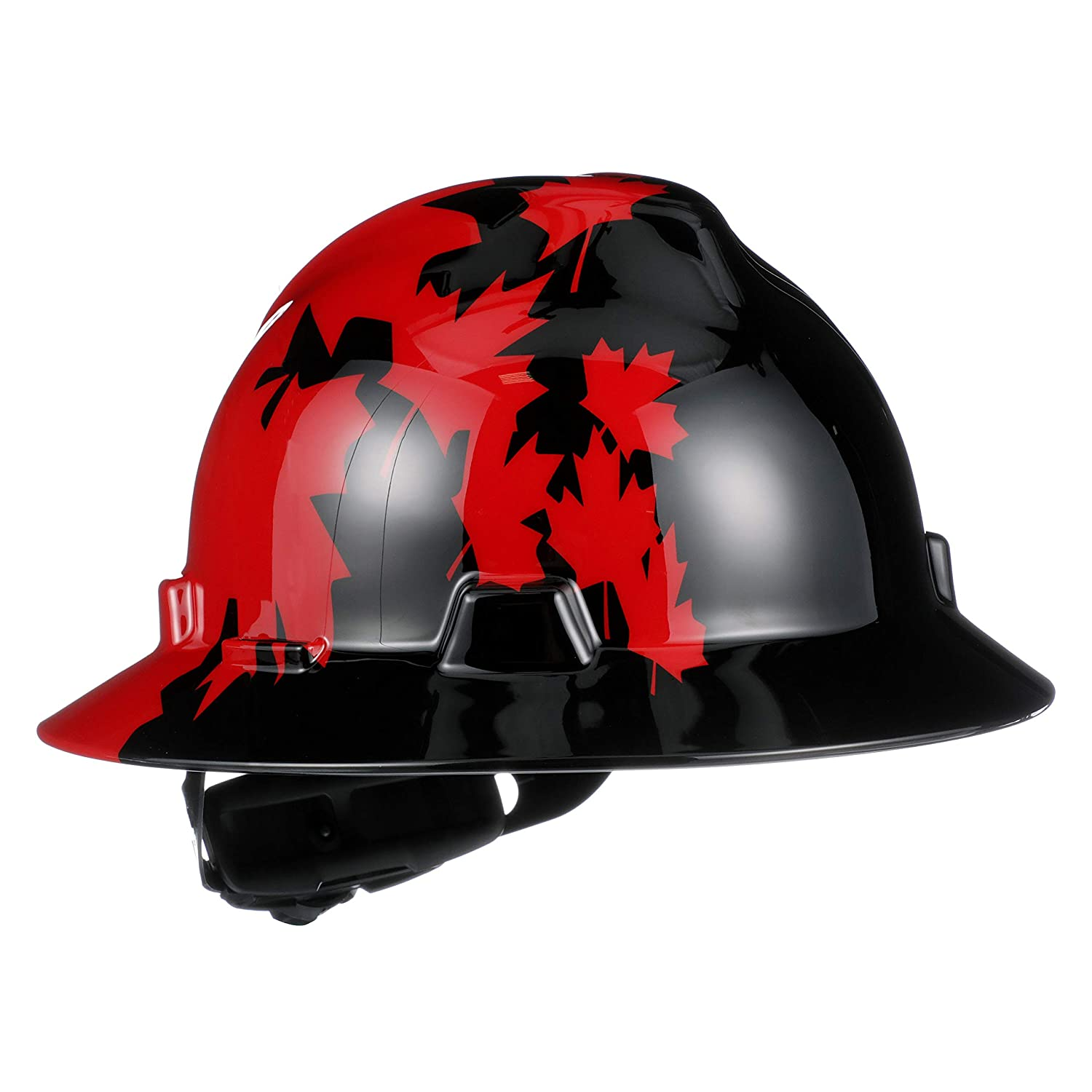 MSA 10082235 Slotted V-Gard Polyethylene Hat with Fas Trac III Suspension, Black with Red Maple Leaf
