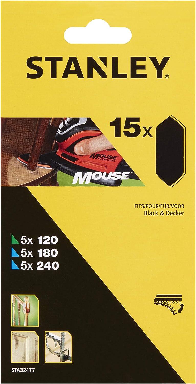 Stanley STA32477-XJ Mouse Grille de pon/çage /à doigts 5 x 120//180//240 Grain moyen et fin avec bande Velcro