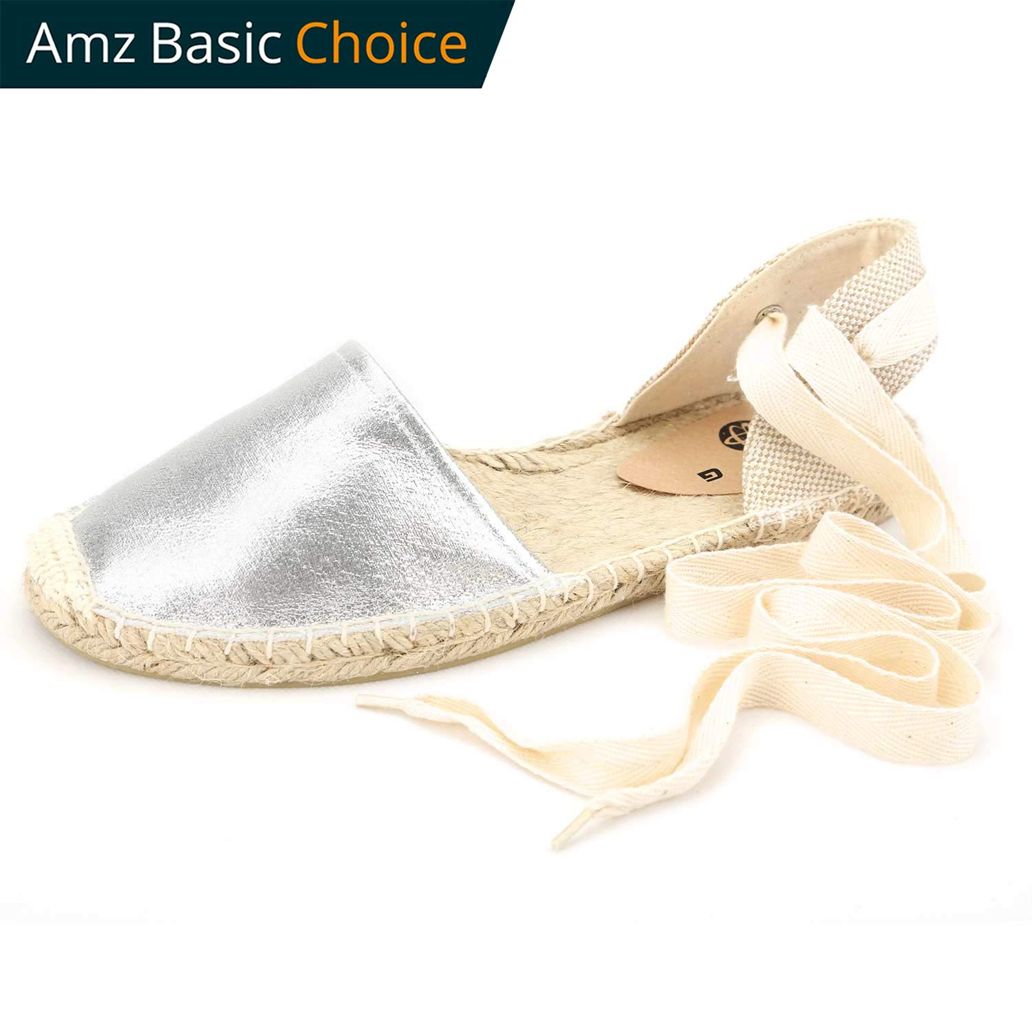 diig Espadrille Sandals for Women, Lace up Sandals Silver Brown Light Gold Navy Tie Ankle Wrap Flat Shoes(Silver, US-10)