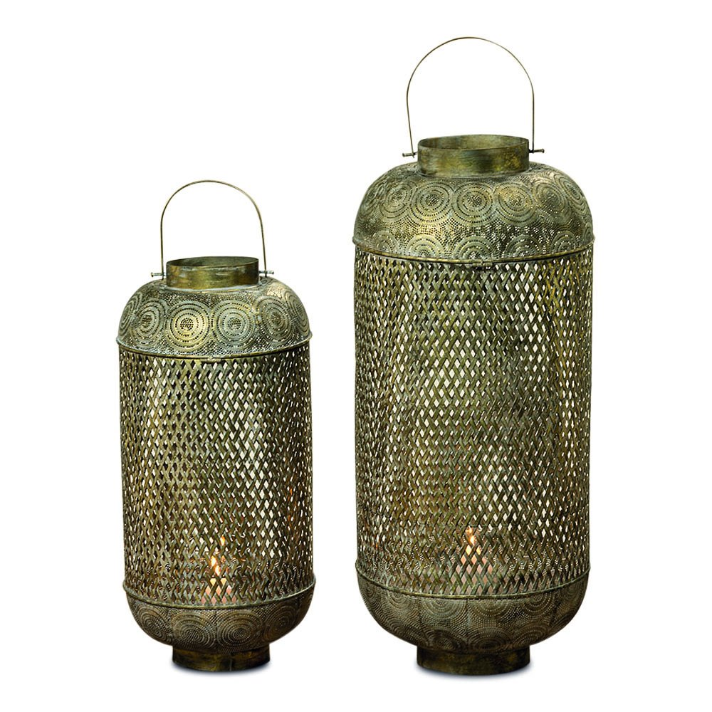 The Moroccan Temple Lanterns, Oversized Floor Hurricanes, Set of 2, For LED or Wax Candles, 3 Ft 4'' and 2 Ft 7'''' Tall, Brass Metal, Hinged Top, From the Global Chic Collection, By Whole House Worlds'' by Whole House Worlds (Image #4)
