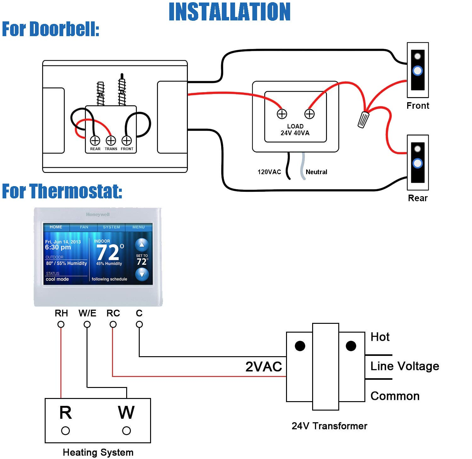 24v 40va Thermostat Doorbell Transformer Power Supply 120vac Input 24vac Output - Compatible With Honeywell, Ecobee, Nest, Sensi Thermostat And All Versions Of Ring Doorbell  Industrial & Scientific