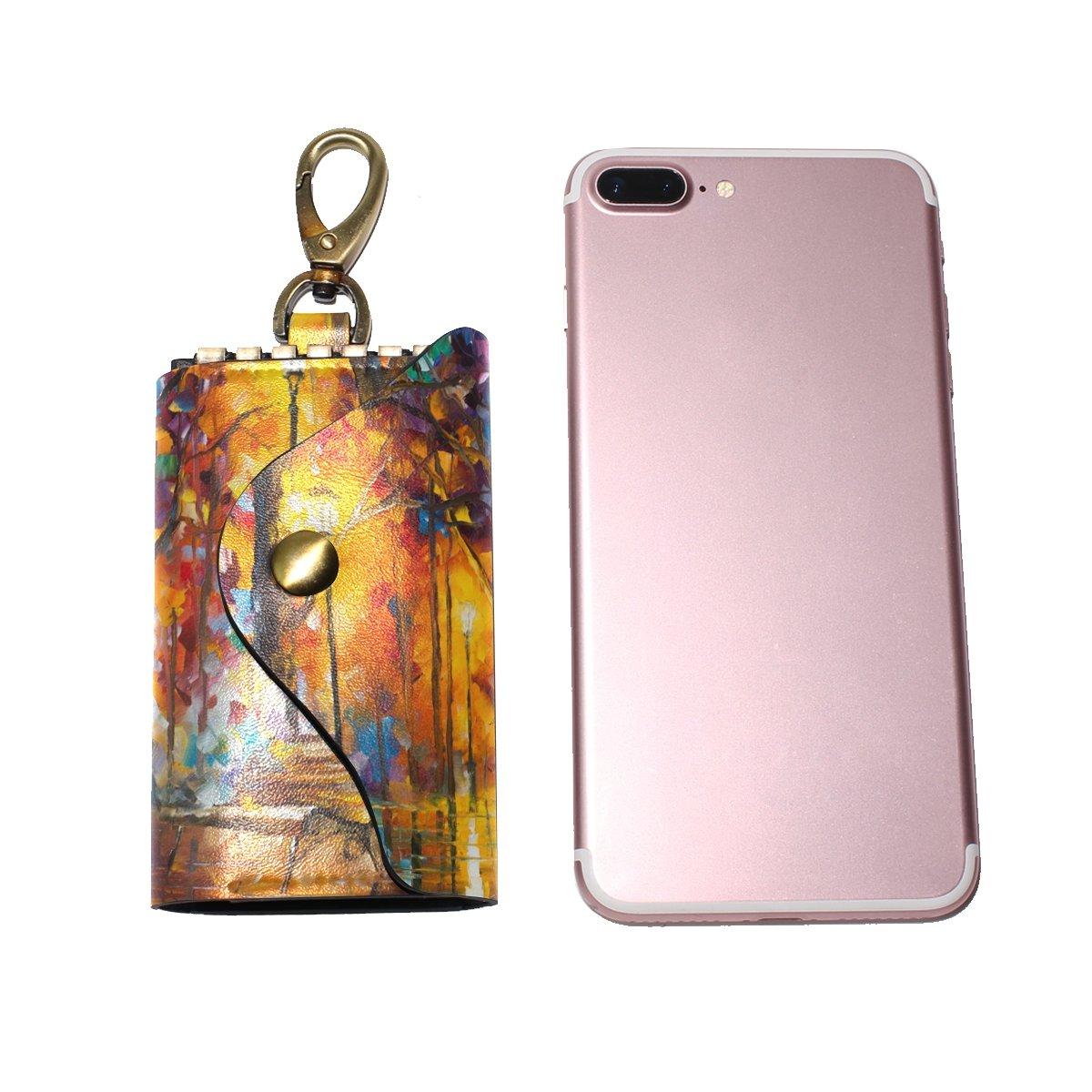 DEYYA Light Night Art Painting Leather Key Case Wallets Unisex Keychain Key Holder with 6 Hooks Snap Closure