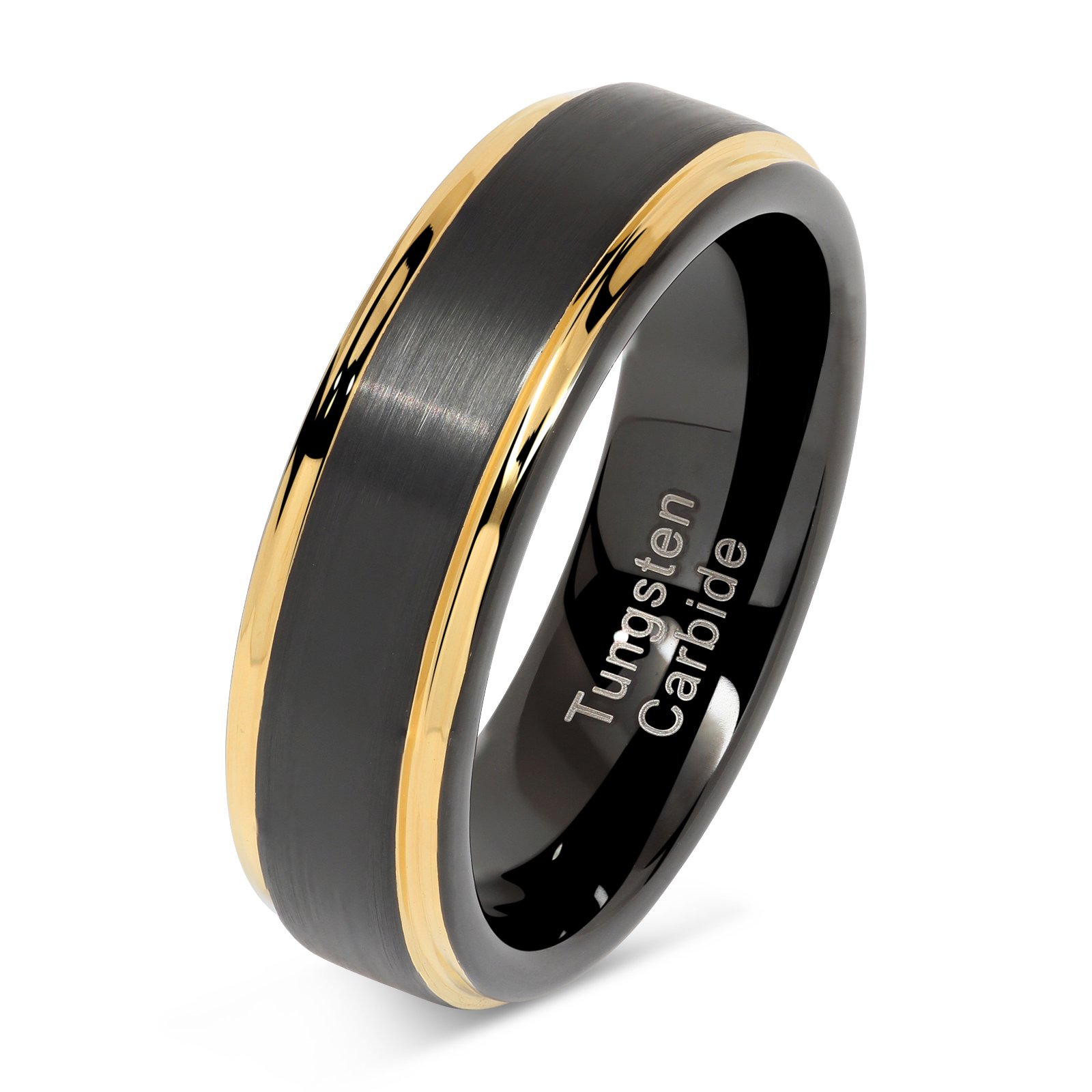 100S JEWELRY 6mm Tungsten Rings for Men Women Two Tone Black Gold Wedding Band Engagement Size 6-13 (7.5)