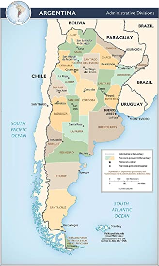 Amazoncom Map Poster Argentina Administrative Divisions 145x24