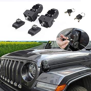 RT-TCZ Original JL Hood Latches Hood Lock Catch Latches Kit for Jeep Wrangler JK JL 2007-2018 Black