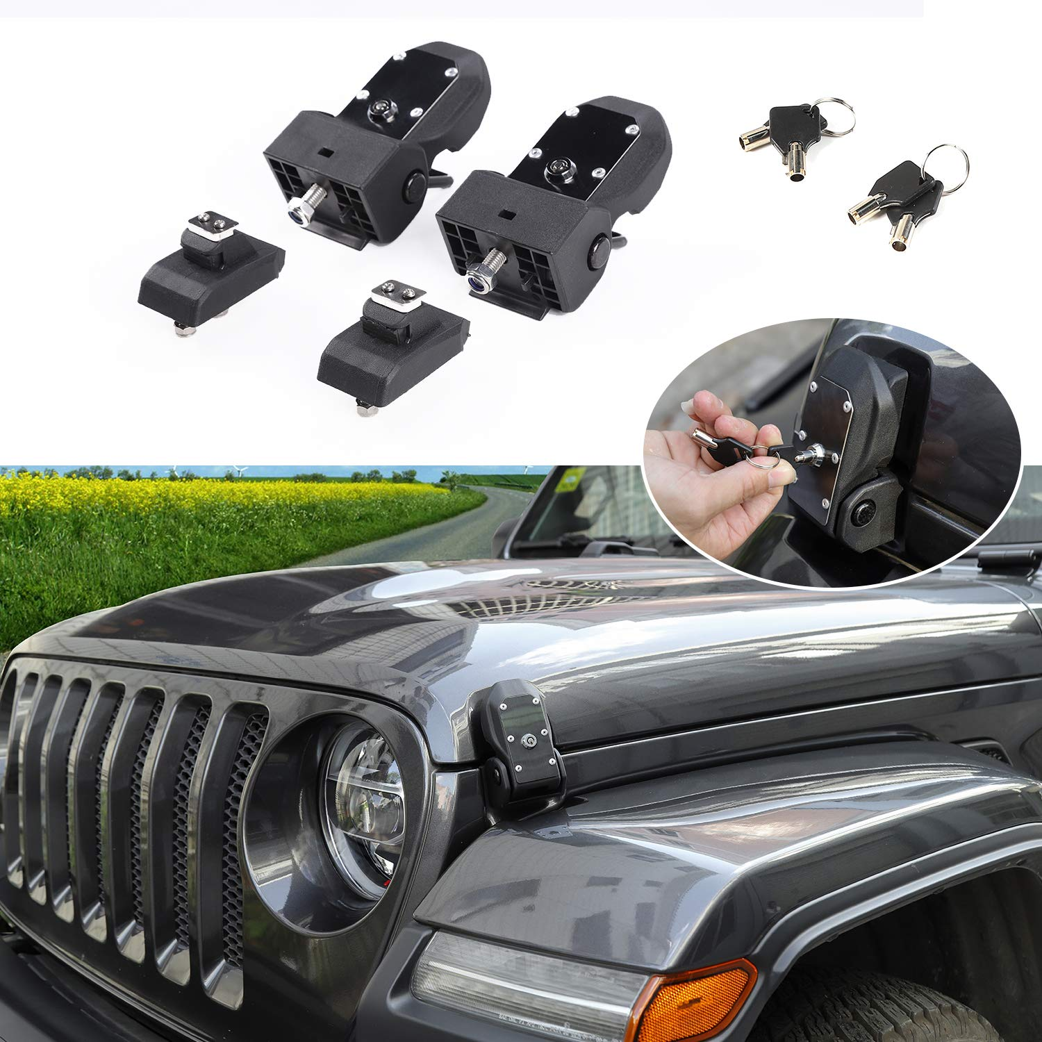 RT-TCZ Original JL Hood Latches Hood Lock Catch Latches Kit for Jeep Wrangler JK JL 2007-2018 (Black) by RT-TCZ (Image #1)