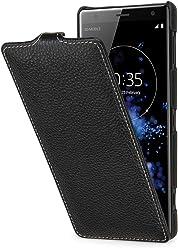 StilGut UltraSlim Case, Custodia Flip Case per Sony Xperia XZ2 in Vera Pelle, Nero