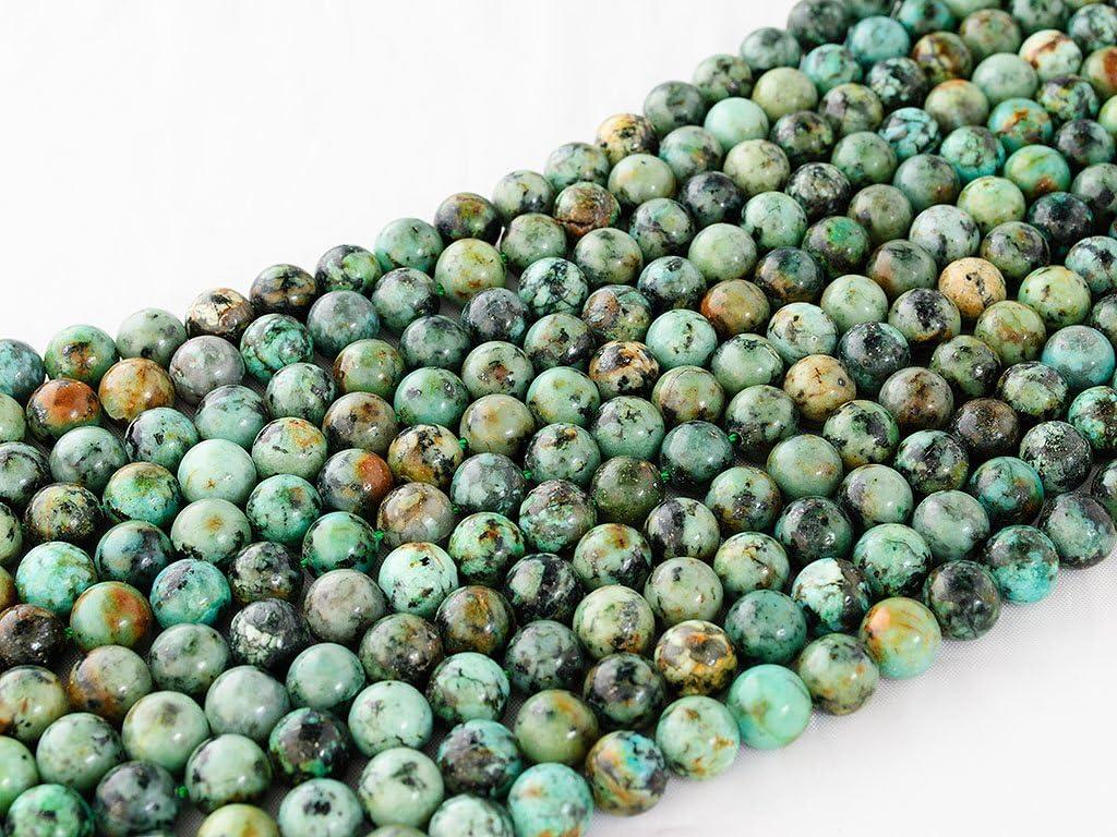 Beads Ok, Abalorios Cuentas Piedra Semipreciosa Turquesa África Naturales Esferas Bola Redonda 6mm, Cerca de 38cm un Tira, Vendido por Tira. 6mm, Round Natural Africa Turquoise Gemstone Beads