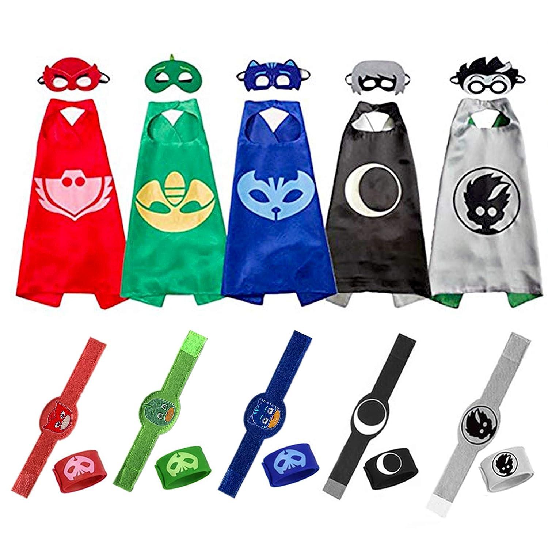 Catboy Owlette Gekko Romeo Luna Girl Costumes Superheros Masks Capes and Slap Bracelets Kids Cosplay Costume