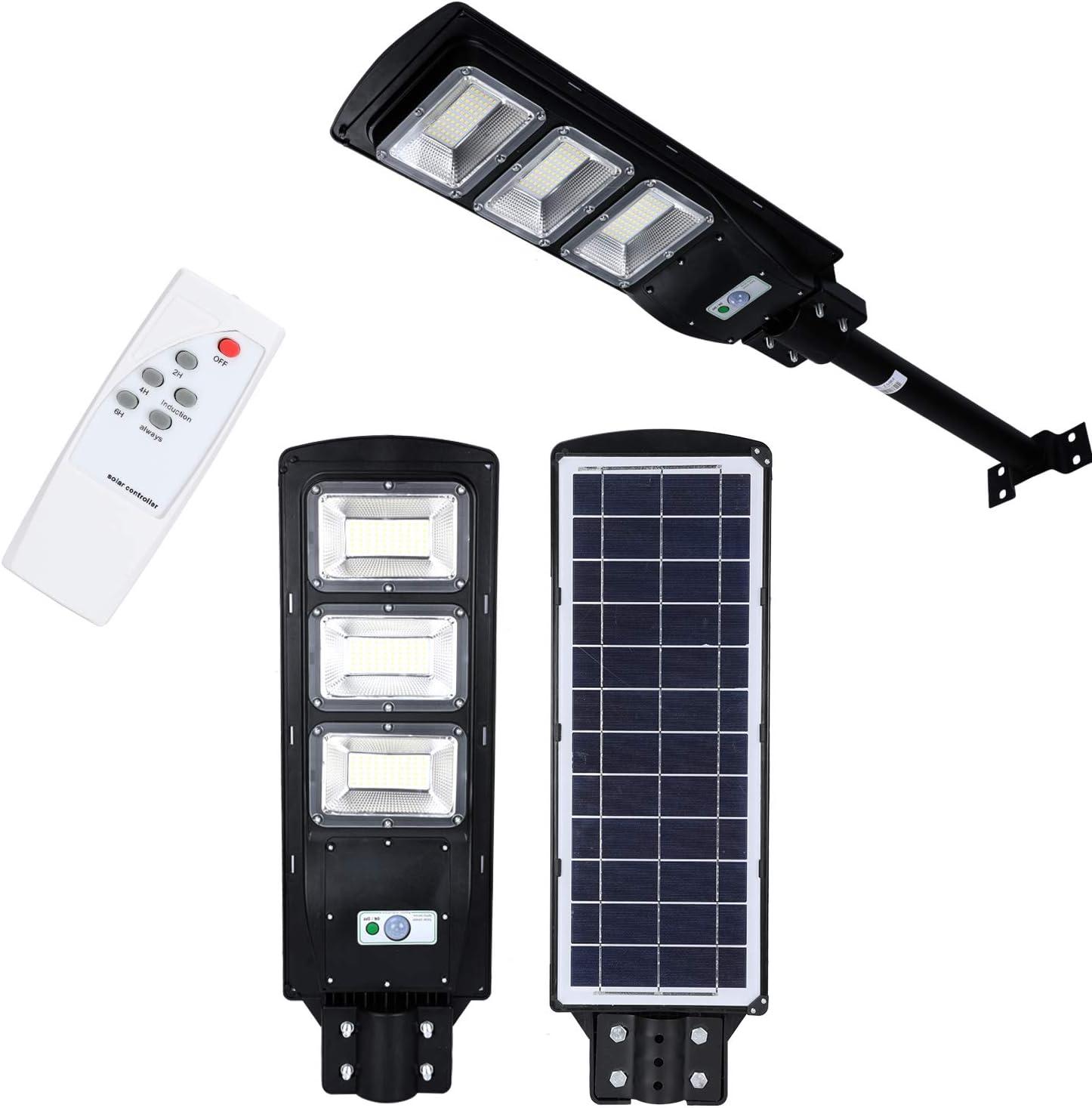 TRUSBER Street Light Solar Powered 90W 180pc LED Beads Auto Radar Sensor Wall Lamp Lumens 6000K Waterproof Remote Control Lighting for Yard,Garden,Villa,Easy Installment Outdoor Dusk to Dawn Lamp(90)