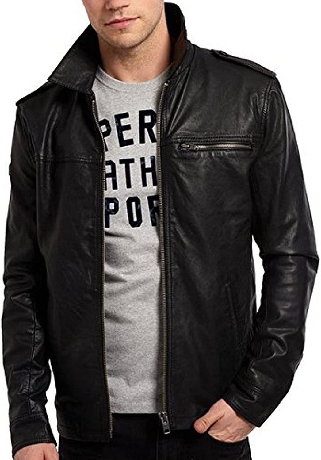 New Mens Leather Jacket Black Slim Fit Biker Motorcycle Genuine Leather Coat LTC757