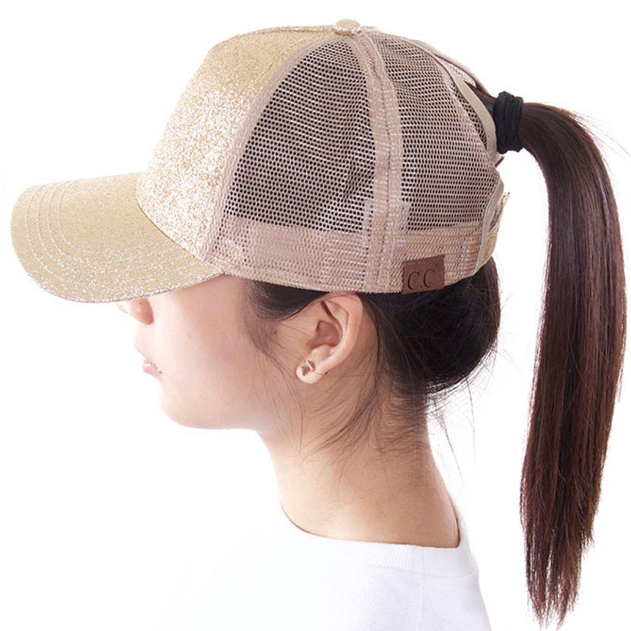 ScarvesMe C.C Ponytail Cap Messy Buns Trucker Plain Baseball Ponycap Hat (Glitter Gold)