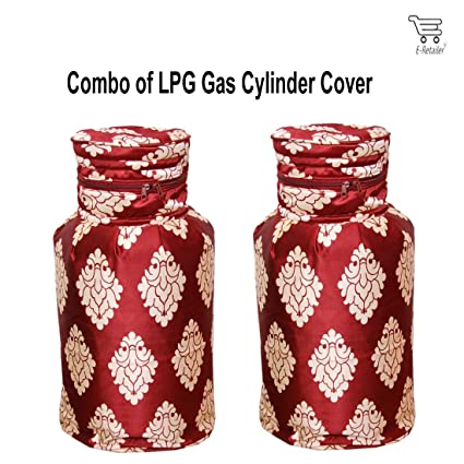 eretailer 3 Layered Quilted Polyester Cotton LPG Cylinder Cover with Damask Design (Maroon, 26 Inch) - Set of 2 Pieces