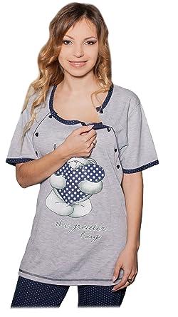 Nursing Schlafanzug Teddy 2 in 1 Umstandsschlafanzug Sleep Shirt Pyjama Hose Pyjama Nachtw/äsche Still