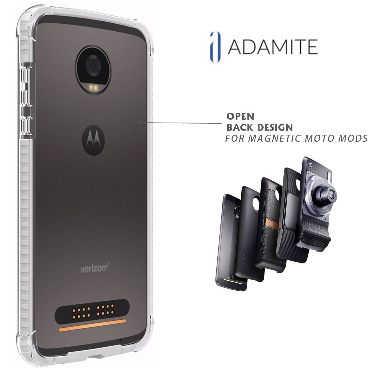 pretty nice ab962 8b964 Details about Moto Z2 Force Case Bumper White / Clear Compatible With Moto  Mods ( Ademite )